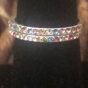 Lauren Conrad multi color bands silver rings